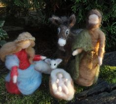 Needle Felted Nativity Set, Christmas. $110.00, via Etsy.