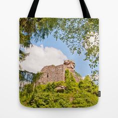 Hohenburg Tote Bag Very nice little castle ruin in the Alsace, France, right behind the border to Germany. It has great views into both countries.   Historical building, castle, ruin, architecture, sky, clouds, spring, trees, green, blue,white, France, Alsace, Hohenburg