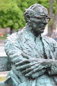 "Poet Patrick Kavanagh Sitting on the Canal (Baggot St neighborhood) ""Wet Evening in April"" poem..."