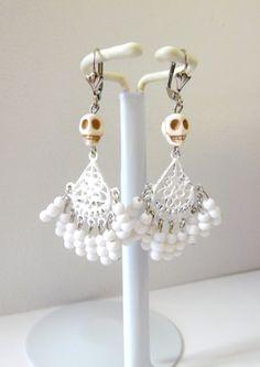 White Sugar Skull Chandelier Wedding Earrings by sweetie2sweetie