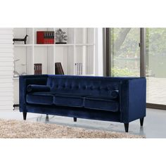 Shop Meridian Furniture Taylor Navy Velvet Sofa with great price, The Classy Home Furniture has the best selection of Sofas to choose from Sofa Furniture, Pallet Furniture, Living Room Furniture, Furniture Ideas, Sofa Ideas, Apartment Furniture, Deco Furniture, Furniture Outlet, Online Furniture