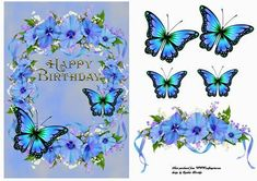 happy birthday flowers on Craftsuprint designed by Cynthia Berridge - quick card front with flowers and butterflies - Now available for download!