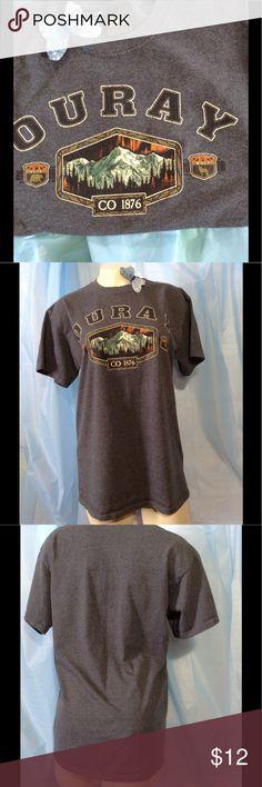 "Ouray Colorado  tshirt Blue gray Ouray Colorado t shirt. Front design. Regular t shirt cut. Worn once. Measures: Armpit-armpit 19"" Across back 17"" Across hemline 19"" Sleeve 7"" Neckline-hemline 26"" Prairie Mountain Tops Tees - Short Sleeve"