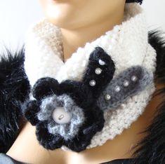 Christmas Gift Knitted Neckwarmer Winter White by RoseAndKnit