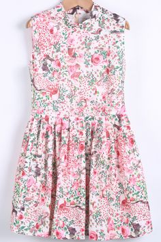 White Stand Collar Zipper Floral Pleated Dress US$37.67