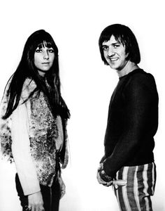 Portrait   Top of the Pops   London   England   television studio   photographer   Harry Goodwin   Sonny and Cher   1965   black & white  vintage photo   music   style icons   lovers   romantic   www.republicofyou.com.au
