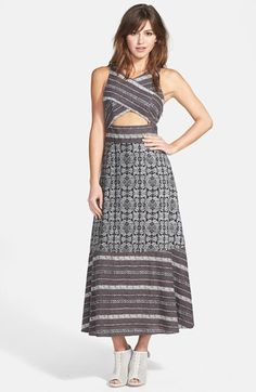 Free People 'Tribal Tale' Cutout Mixed Print Midi Dress | Nordstrom