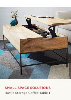 Small Space Solutions-Rustic Storage Coffee Table