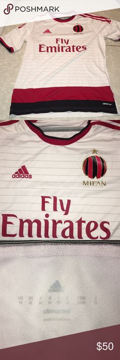 Adidas AC Milan Soccer Jersey AC Milan Soccer Jersey Away white jersey size medium. Never worn in perfect condition. Jersey is beautiful. adidas Shirts