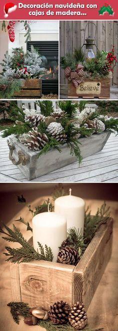 Decoración navideña con cajas de madera. Decoración navideña rústica.