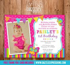 Printable Butterfly Birthday Photo Invitation | Girl Birthday Party Idea | First Birthday | Bug | Rainbow | FREE Thank You Card Included |  Banner | Cupcake Toppers | Favor Tag | Food and Drink Labels | Signs |  Candy Bar Wrapper | www.dazzleexpressions.com