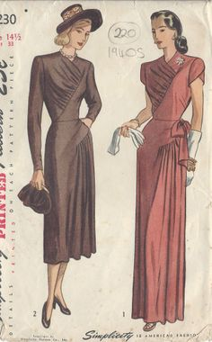 "1947 Vintage Sewing Pattern DRESS B33"" (220)"
