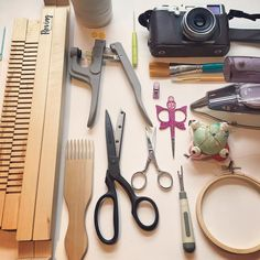 Day 9 #torontoetsystreetteam insta challenge - #webetest - minus my 3 sewing machines #jukiserger #elnasewingmachine and #babylockquestplus -  these are my most used tools. And can I say how much I  my #gingherscissors !!  Game changer. - my little #rowentairon is perfect for small jobs. - Paint brushes  for my #broodyblocks. - This tool for bib snaps is a real lifesaver for my #broodybibs - embroidery hoop for  my @#broodybunnies little faces - And course my #rovingweavingloom is magic (and…