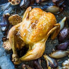 My classic, favourite roast chicken recipe. The alliums' earthy pungent sweetness adds flavour when slow roasted until caramelised like in this recipe. Creamy Mushroom Sauce, Creamy Mushrooms, Mushroom Chicken, Stuffed Mushrooms, Flavored Butter, Roast Chicken Recipes, Easy Weeknight Meals, Chicken Seasoning