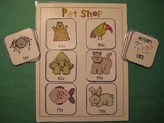 Finally in First: Pet Shop Coin Game. I love this idea to do with my Kindergarten kids, but I think it might be a bit difficult for them. Teaching Money, Teaching Math, Teaching Ideas, Fun Math, Math Activities, Maths, Animal Activities, Preschool Science, Animal Crafts