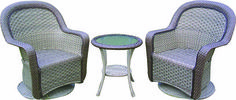 Soak spring up in this lovely brand new three-piece stylish Wicker Set from Central. It includes two swivel arm chairs and a glass-top table, and all kinds of chic!!! Save $100.00 off our everyday low price right now!