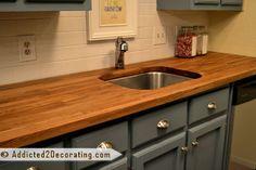 DIY Ikea butcher block countertops | My Ikea Numerar Butcherblock Countertop Saga Continues - conference room color option