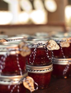 Home made preserves as favors