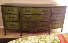 French provincial dresser painted in Annie Sloan Antibes Green w/ dark wax