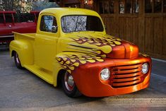 1948 Ford F100 Truck Hot Rod Custom Canary Yellow on Corvette Red Leather
