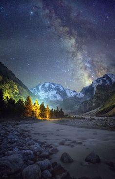 Milky Way in the North Caucasus mountains. Starry night in Adir-Suu ~ Photo by Boris Dmitriev -- National Geographic Your Shot Beautiful Sky, Beautiful Landscapes, Beautiful World, Sky View, Landscape Photography, Nature Photography, Milky Way, Stargazing, Night Skies
