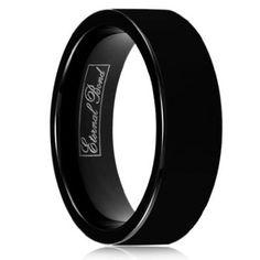 Amazon.com: ENIGMA-8MM Black Tungsten Carbide Flat Wedding Band Ring (Size 15): Eternal Bond: Jewelry