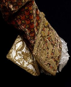 1765-1770. Court suit. Silk velvet, embroidered with silver-gilt thread, purl and sequins, lined with silk satin, backed with corded silk, hand-sewn