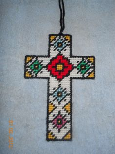 Cross Wall hanging in Plastic canvas 2 designs by SpyderCrafts
