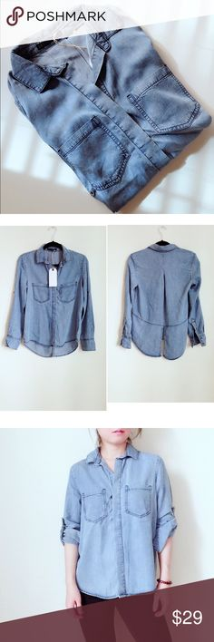 """Casual Denim shirt w back bottom slit Casual cool looking denim shirt. 100%tencel, soft and flowy. Loose fit. Hi-low style with Back slit. Model size S, 5'5"""", wearing S. Approx Measurement: Chest S-18.5"""" M-19.5"""" L-20.25"""". Length front 25"""", back 28.5"""".  Brand New with Tag. Imported. ❤️sound price firm 🚫no trade Tops Button Down Shirts"""