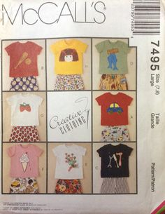 McCall's 7495 UNCUT Creative Clothing Kids Shirts & Shorts by Lonestarblondie on Etsy