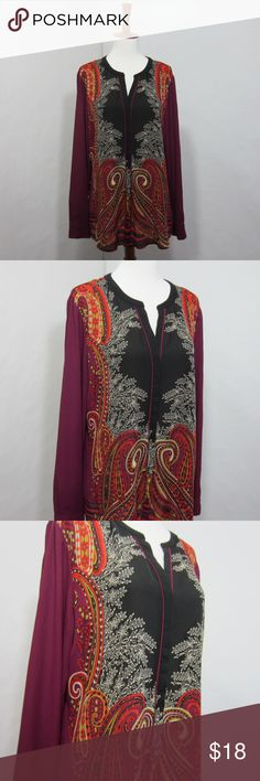"""Dana Buchman Sheer Paisley Button Down Blouse Brilliant color combination make this blouse a stunner! Beautiful deep plum, reds, and black on a soft-touch sheer polyester. [Size 12 Bust 40"""" Length 26"""" Sleeve length 24""""] Button down front with hidden buttons. Excellent gently worn condition, no flaws.   // No holds, trades, or modeling. Colors may vary on screen. Please use measurements. Offers welcome.   *Last characters in title is inventory number. Dana Buchman Tops Button Down Shirts"""