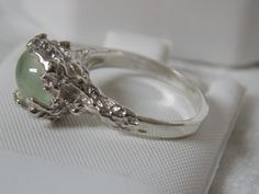 2.25ct natural green prehnite 925 sterling silver wrap ring size 7 USA made…