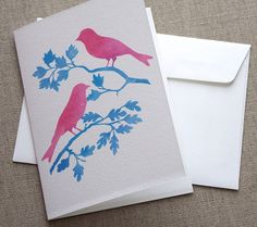 IDEA: Bella Stationery Studio - Australian Finches Greeting Card - Handmade Featuring Original Watercolour Print