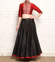 #Red & #Black Raw Silk #Skirt & Crop #Top With Gota Patti at #Indianroots