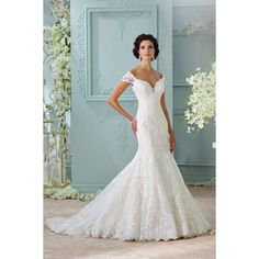 Ivory Off The Shoulder Chapel Train Lace Trumpet Mermaid Wedding Dress... ❤ liked on Polyvore featuring dresses and wedding dresses