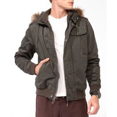 Forever 21 Men's  Faux Fur Trim Bomber Jacket ($26) ❤ liked on Polyvore featuring men's fashion, men's clothing, men's outerwear, men's jackets, mens outerwear, mens jackets, mens bomber jacket, mens flight jacket and mens blouson jacket