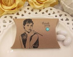 Breakfast at Tiffany's Kraft Audrey Hepburn Pillow Box, Kraft Wedding Favor Box, Tiffany and Co. Bridal Shower Favor Box, Party Favor Box on Etsy, $15.00
