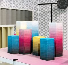 I'd actually like elements of this display in my house :) Prove di Stampa Exhibition by Diego Grandi