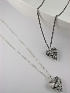 "SIMS Jewelry - Gorgeous Swirled White and Black 35mm Glass Heart with 33"" Necklace. Perfect length to wear long or double around neck for shorter look!"