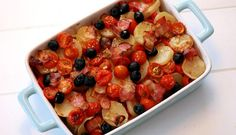 Kung Pao Chicken, Fruit Salad, Bacon, Ethnic Recipes, Cod, Red Peppers, Fruit Salads, Pork Belly