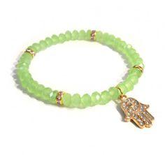 Bracelet - green crystals and golden hamsa, fatima hand Find us on: www.labonita.co