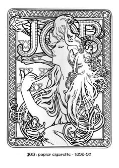 Kleurplaat naar Alfons Mucha *Colouring Picture A.Mucha-like  ~Job Cigarette Paper (1896)~