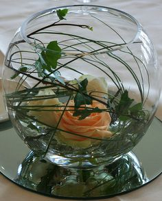 fish bowl with peach avalanche rose, ivy and beargrass. Wedding table centre. www.heatherhartley.co.uk