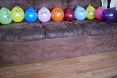 Balloon scavenger hunt great for rainy or winter cold days inside