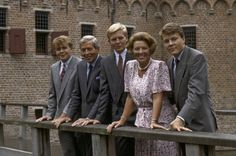 asdfjkl-royal via prinses-beatrix: The Dutch Royal Family in the 90s-Prince Friso, Prince Claus, Crown Prince (now King) Willem-Alexander (midden) , Queen (now Princess) Beatrix, Prince Constantijn