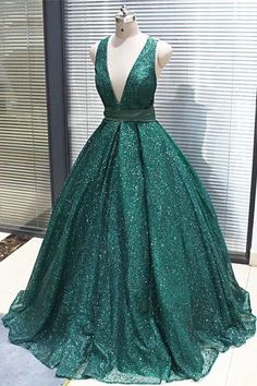 2019 Sparkly Dark Green Sequined Long V Neck Evening Dress, Party Dress from Sweetheart Dress - Prom Dresses Design Sparkly Prom Dresses, V Neck Prom Dresses, Ball Gowns Prom, Women's Evening Dresses, Formal Dresses, Sparkly Gown, Elegant Dresses, Cheap Gowns, Sweetheart Dress