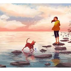 Undisturbed (I really can't believe how busy it's been! I think I set too many goals for myself this year.hopefully I will get a better handle at prioritizing my time everyday) Dog Illustration, Illustrations, Girl Cartoon, Cartoon Art, Pretty Art, Cute Art, Alone Art, Girl And Dog, Anime Art Girl