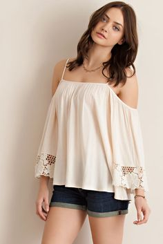 Off Shoulder Blouse with Crochet Lace