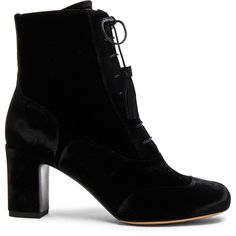Tabitha Simmons Velvet Afton Booties (569.175 CLP) ❤ liked on Polyvore featuring shoes, boots, ankle booties, ankle boots, lace up bootie, bootie boots, high heel ankle booties and short lace up boots