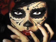 Priscila by Daniel Esparza Sugar Skull Canvas Giclee